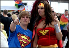 Conflict of interests (* RICHARD M) Tags: street gay costumes liverpool candid couples superman wonderwoman superheroes gaypride lesbians candids pointing fancydress pierhead kinky merseyside superwoman capitalofculture fingerpointing europeancapitalofculture liverpoolpride liverpoolgaypride