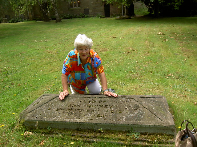 Marie_Walker_with_headstone_of_Ann_Embrey_1791_1860_St_Helen_s_Churchyard_Etwall