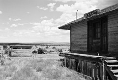 The Train That Never Comes (jmhouse) Tags: blackandwhite newmexico depot ghosttown abandonment ruraldecay ancho traindepot