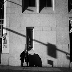 >< (. Jianwei .) Tags: street city light shadow urban vancouver kiss couple mood teddy geometry walk candid sony stranger lover acrossthestreet nex kemily nex6