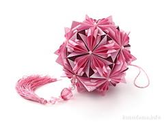 С днем рождения, Жанна! (ronatka) Tags: birthday pink square maroon gift bordo modularorigami kusudama tomokofuse sonobe floralglobe withbeads vogpaper