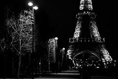 La promenade du Champ de Mars - Tour Eiffel by night (Max Sat) Tags: bw black blanc champsdemars eiffel f14 france fuji fujixe1 kiwilmalrfxadapter leica leitz nb night noir noiretblanc nuit paris summiluxr5014 tour toureiffel xe1 75007 lumière lumières light lights tree arbre atnight legacylens maxsat maxwellsaturnin fujinon xf unexplored