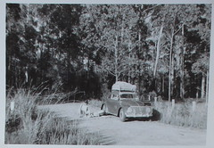 B&W VW & lunch spot on the road. (spelio) Tags: trip travel dorothy scans australia dot betty qld prints around 1963 sides copies