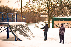 The Determination of Skateboarders (Nolte Photo) Tags: winter people snow canada man cold tree men canon 50mm ramp quebec snowy montreal toque skatepark flannel halfpipe snowing shovel f18 plaid beanie ef50mmf18ii throwing skateboarder shoveling miniramp skateboardpark quarterpipe ef50mm 60d canoneos60d eos60d