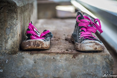 (Images By Mel) Tags: pink blackandwhite stairs shoes steps dirty dirtyshoes flickrandroidapp:filter=none