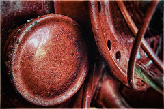 Blue (hbmike2000) Tags: old red macro glass lamp metal closeup vintage nikon flickr metallic small curves rusty scratches dirty dirt cap rusted round worn d200 curve curved scratched hmm hdr hoya odc oillamp fuelcap closeuplens macromonday twittertuesday hbmike2000