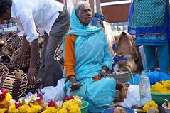 Temple woman (bevmanders) Tags: street flowers blue woman india colour sitting candid streetphotography sp elderly karnataka mysore selling puja marigolds buying chamundi chamunditemple nex6 bevmanders