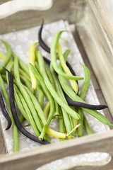 French Beans (Suzie Banks) Tags: wood uk summer green vegetables yellow beans purple box fabric crate frenchbeans