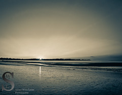 Walking along a wet sandy Woodmont Beach-3 (Singing With Light) Tags: moon sunrise photography spring downtown sony july ct milford 3rd 2015 mirrorless lismanlanding singingwithlight singingwithlightphotography forttrumbullbeach alpha6000 sunsetctkitlens skitlenssonya6000