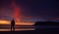 july(11) (Andrew Blake 2012) Tags: ocean sea seascape castle beach water sunrise canon landscape person dawn bay yorkshire hobby northsea scarborough amateur eastcoast selfie yorkshirecoast