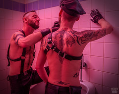 Tom & Joe 02 (WF portraits) Tags: portrait male men onlocation toilet leather gayleather harness duo couple tattoos beard gaybeards gloves club usa aut