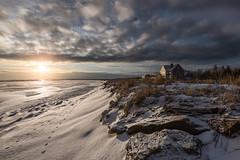 Morning light (Alec_Hickman) Tags: landscape seascape water ice snow frozen atlantic canada house sky clouds sun morning light footprints winter cold freeze rocks beach sea ocean