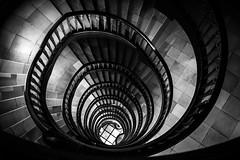 a little more than a year / pure fascination (Özgür Gürgey) Tags: 2016 35mm bw d750 dxonfx hamburg kontorhausviertel messberg nikon unesco worldheritagesites architecture repetition spiral stairs vignette messberghof