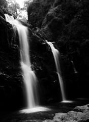Upper Waikani Falls (pabs35) Tags: film believeinfilm mediumformat 120 ilford fp4 fp4plus ilfordfp4plus mamiya m645 1000s mamiyam6451000s maui roadtohana waterfall upperwaikanifalls threebearsfalls hawaii blackandwhite bw