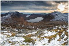 Lough Shannagh, Mournes (Chris-Ibbotson-Photography) Tags: mournemountains mountainsofmourne slievedonard slievebinnian slieveloughshannagh slievemuck carnmountain ottmountain silentvalley doan percyfrench sunset snowymountains