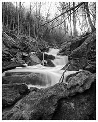 March 28: spilling off the escarpment (_Matt_T_) Tags: 40creek grimsby spring smcpm20mmf4 simar2017 fortycreek niagara niksilverefexpro2 bw singlechallenges escarpment
