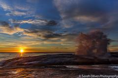 Sunrise at the Blowhole (SarahO44) Tags: bicheno tasmania australia au sunrise rocks blowhole water reflection canon 6d nature landscape outdoors action spurt ocean sea coast