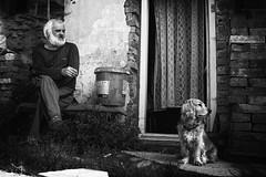 _DSC1526 (Zdenek Jasanský) Tags: bw blackandwhite village dog man sony 20mm a6000 ilce6000