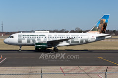 Frontier Airlines Airbus A319-112 - N951FR (AeroPX) Tags: aeropx airbusa319 bennythebrownbear caryliao ewing frontierairlines kttn n951fr nj newjersey ttn trentonmercercountyairport
