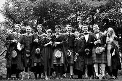 Graduation (Stuart Rennie) Tags: boy people blackandwhite bw woman white man black girl happy person grey scotland university kilt glasgow graduation scottish skirt memory gown strathclyde degree greyscale happyness
