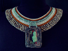 African Forest (AleksandraMicic) Tags: face necklace photos handmade african ooak crochet profile jewelry images tribal aleksandra polymer micic micicart