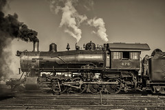 Number 475 at Strasburg (Randy Durrum) Tags: railroad sepia train canon eos trains m strasburg locomotive nik railroads durrum vision:sunset=0567 vision:outdoor=0857 vision:clouds=0811 vision:sky=0845