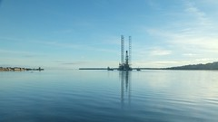 Heading off to work (stuant63) Tags: blue castle water river scotland flat fife broughtyferry dundee calm tay ripples tugs oilrig stuant63 stuartanthony