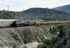 UNION PACIFIC STEAM/SANTA FE--8444 at Blue Cut, Cajon Pass, CA. 2 of 2 (milantram) Tags: trains unionpacific steamlocomotives up844 unionpacificsteam bigsteamlocos laupt50thanniversaryspecial