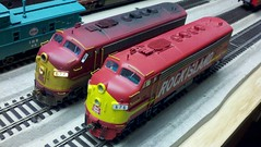RI F-7s side by side comparison (rihogger@sbcglobal.net) Tags: classic rock train island model power locomotive metra f7 emd chicagorockislandpacific