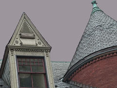 A06843 / 16th St at Corcoran (janeland) Tags: washingtondc nw architecturaldetail logancircle taupe dormer witchshat 20009 sampledsky pe0106