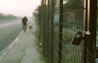 Man, dog and padlock