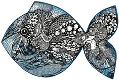 Fish (artyshroo) Tags: fish mermaid zentangle wwwartyshrooblogspotcouk