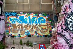 Parking This way! (Jocey K) Tags: windows newzealand christchurch streetart building art sign painting weeds mural earthquakedamamge