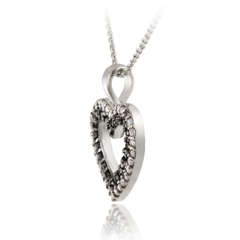 925 Silver 1 2ct Black & White Diamond Heart Necklace