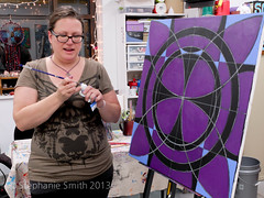 "Live painting in my studio on First Friday (Stephanie ""Biffybeans"" Smith) Tags: blue red art purple geometry modernart mandala selftaught sacred meditation spirituality psychedelic lehighvalley visionary stephaniesmith transformational visionaryartist personalgrowth bananafactory biffybeans"