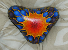 Painted stone. (elboo104) Tags: blue original orange sun abstract art water yellow stone manchester design triangle acrylic pattern unique painted smooth craft pebble elainebooth
