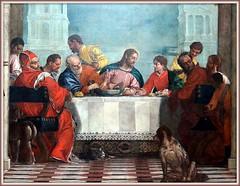 Le titre originel de ce tableau est la «Cène», thème traditionnel pour un réfectoire de monastère. Mais en raison du traitement profane de l'œuvre, Véronèse est accusé de blasphème par l'Inquisition. Le tribunal juge qu'il a peint des «obscénités». (Barbara DALMAZZO-TEMPEL) Tags: venice italy italia venise venezia italie galleria véronèse paolocaliari lerepaschezlévi dellacademia