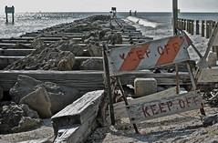 KEEP OFF (simongavin83) Tags: ocean wood sea seascape beach water lines sign danger warning pier seaside dangerous rivets florida shoreline rocky shore signage seafront seashore telling beams seaview saltwater warningsign linear keepoff ruined unused seawater