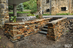 WM Mark Jurus 7, steps, freestanding wall, retiaing wall, flat caps stones, cheeckend, dry laid stone construction, copyright 2014