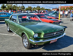 Clean Green Dream Machine (Stephen Kinna Photography) Tags: road park street old original building green heritage cars water car club bay pier photo nikon university waterfront muscle anniversary performance engine machine australia melbourne victoria pony chrome national american permit restored modified 1960s grille mustang 1970s 50th 50 carpark nationals hdr highdynamicrange musclecar mustangs geelong deakin nikond600 photoengine oloneo stephenkinna stephenkinnaphotography