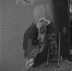 (ChazboTheThird) Tags: from above street max art 120 tlr film up marilyn self painting t graffiti paint tmax g spray mat 124 developer crew 400 124g monroe styles medium format mf spraypaint vs mm graff edu developed yashica ras rasta vicious 120mm develop fua arista
