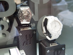 Hublot watches in a shop in rue St. Honore!  The price for the watch in the back is 111.000 euros / 973.000 nkr...