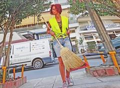 Macedonia, Drama, street sweeper woman #acedonia Greece (bilwander) Tags: travel woman yellow greece macedonia jacket solo drama sweeper atreet bilwander acedonia