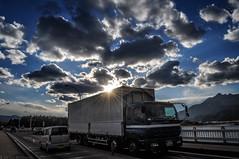 On the Road (Majime-SPN) Tags: truck car blue sky bluesky cloud cloudy clouds sun sunshine japan japanese yamanashi kawaguchiko kawaguchilake