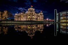 BERLIN Reichstag   [explored] (Klaus Mokosch) Tags: reichstag berlin germany blue hour reflection spiegelung langzeitbelichtung longexposure urban city spree river water night regierungsviertel governmentplace architecture building visipix