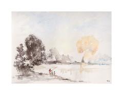 Au bord de l'eau (Yvan LEMEUR) Tags: aquarelle auborddeleau rive watercolour acuarela peinture arbres pêche pêcheur