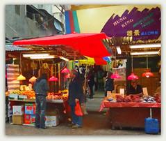 Fruit shopping in Hong Kong with Van Gogh  **Explored** (boeckli) Tags: shop people outdoor hongkong asia stall shopping einkaufen texture textures texturen topaz topazimpression2 shuttercreek market markt colourful colors bunt vangogh awardtree textur