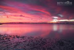 Pink Dusk (Beth Wode Photography) Tags: sunset dusk pinkdusk pinkclouds reflections mud lowtide cloudreflections wellingtonpoint redlands beth wode bethwode seascape
