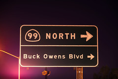 Buck Owens Blvd (Curtis Gregory Perry) Tags: california sign night nikon highway long exposure boulevard north right 99 button arrow buck copy bakersfield blvd owens d800e