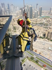 The Window Cleaner (gaijin in nihon (UmKenza)) Tags: man downtown dubai air manatwork spiderman cleaning hanging cleaner frommybalcony